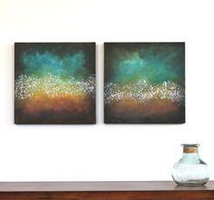Northern Lights teal turquoise orange aqua brown by StudioZen