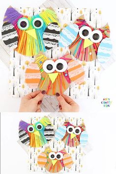 A cute and easy fall craft for kids to make! Perfect for developing kids fine motor skills. A fun craft for preschool, kindergarten and early years education Yarn Crafts For Kids, Easy Fall Crafts, Arts And Crafts, Paper Crafts, Owl Crafts Preschool, Dinosaur Crafts, Crafty Kids, Kids Diy, Origami Art
