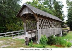 Old wooden covered bridge in Troy, Alabama.