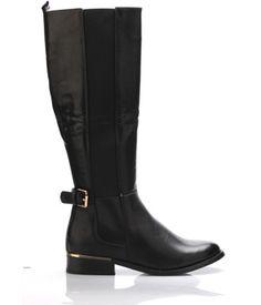 2c4b001b5d4 Černé širší elastické kozačky Claudia Ghizzani