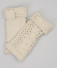 Cream Cable-Knit Fingerless Gloves