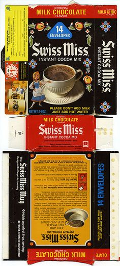 Swiss Miss Instant Cocoa Mix - Original Milk Chocolate Flavor box - 1972 | Flickr - Photo Sharing!