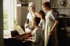 Kate Winslet as Marianne, Gemma Jones as Mrs. Dashwood, Emilie François as Margaret and Emma Thompson as Elinor in Sense and Sensibility (1995).