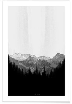 Brush Mountains en Affiche premium par The Wall Shop | JUNIQE