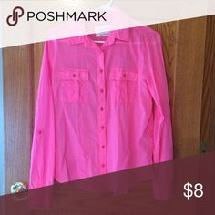 Hot Pink Button Up Blouse Hot pink, light weight and barely worn. Would look great under a sweater. 100% cotton. Aeropostale Tops Button Down Shirts