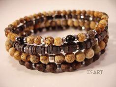 men's bracelets - jasper, obsidian, shell, onyx, hematite, silver Ag 925