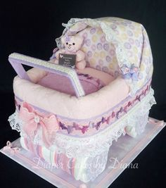 Carriage Diaper Cake www.facebook.com/DiaperCakesbyDiana