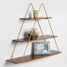 Wood and Gold Triangle Wall Shelf – - Decor Wall Shelf Decor, Triangle Wall, Rustic Wall Shelves, Shelves, Rustic Walls, Gold Bedroom Decor, Wood Plank Shelves, Gold Wood, Luxurious Bedrooms