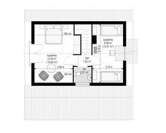Projekt domu Szarejka – 63.63 m2 - koszt budowy 65 tys. zł Floor Plans, Floor Plan Drawing, House Floor Plans