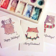 Warm & Fuzzy Animal Holiday Christmas Card Set  by HikomariShop