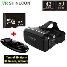 VR SHINECON Virtual Reality 3D Glasses + Bluetooth Wireless gamepad +8G Micro SD #MokeVRshinecon