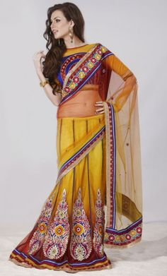 Apricot and Golden Lehenga Style Saree With Blouse Online Shopping.