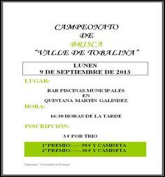 9/9 Campeonato de brisca. Quintana Martin Galindez 16:30h Bar Piscinas Municipales Las Merindades