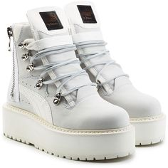 Fenty x Puma by Rihanna Leather Platform Ankle Boots ($260) ❤ liked on Polyvore featuring shoes, boots, ankle booties, white, platform booties, white leather boots, ankle boots, lace up booties and white booties