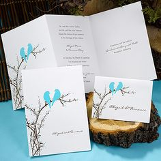 Brides planning a Love Bird wedding may love these aqua love birds sitting on a branch wedding invitations from theofficegal.cceasy.com