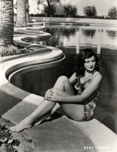 "sparklejamesysparkle: "" Gene Tierney poses next to a rather spectacular swimming pool, "" Old Hollywood Stars, Hollywood Icons, Old Hollywood Glamour, Golden Age Of Hollywood, Vintage Hollywood, Classic Hollywood, 1920s Glamour, Vintage Glamour, Vintage Beauty"