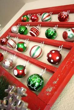Old window frame, some hooks, Christmas ornaments by Raelynn8