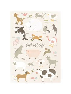 """This is going in my kids' room! """"Love all life"""" Children's Art Print - this is such a lovely piece of art for any chid's room, and especially if you have vegan kids. Cow Fish, Bee Dog, Art Wall Kids, Life Drawing, Drawing Art, Custom Art, Polar Bear, Wall Art Prints, Art Drawings"""
