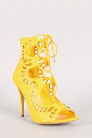 Makay-01 Cut Out Lace Up Stiletto Heel