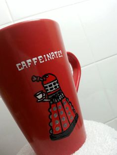 Dr Who Dalek Cup Caffeinate .. would be better if it was bronze in color like traditional daleks