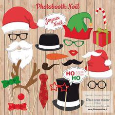 Photobooth Noël - 24 éléments pour prendre la pose de façon amusante.