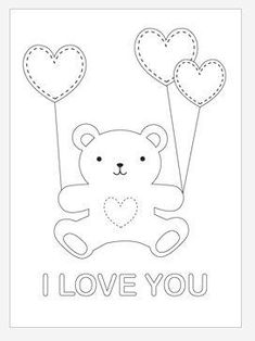 Valentine Teddy Bear Coloring Page