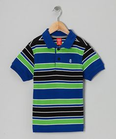 Take a look at this Blue & Green Stripe Piqué Polo - Boys by IZOD on #zulily today!