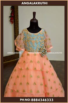 Kid frock designs by Angalakruthi boutique Bangalore Watsapp Dresses Kids Girl, Kids Outfits, Kids Frocks Design, Frock Design, Kids Wear, Kids Girls, Designer Dresses, Gowns, Boutique