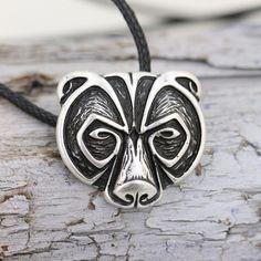 1pcs Norse Viking Bear Amulet Necklace Legendary Viking Bear Head Amulet Pendant Necklace Talisman Jewelry