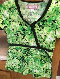 KOI Scrub Shirt Top XS EXTRA SMALL Kathy Peterson Leaf Uniform Nursing Scrubs #Koi