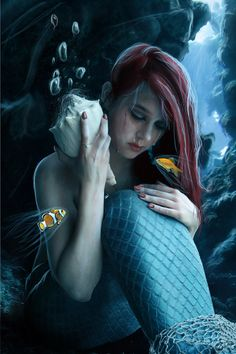 Mermaids are made from broken hearts.they choose the cold depths to harden their hearts.and in the shell they listen for the love that was broken