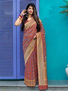Maroon Colour Woven Banarasi Silk Saree With Blouse Banarasi Sarees, Silk Sarees, Maroon Colour, Indian Fashion, Womens Fashion, Indian Bridal Wear, Saree Styles, Indian Designer Wear, Saree Blouse Designs