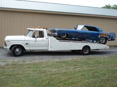 Ford car hauler and Chevy Nova funny car