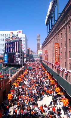 Eutaw Street is packed with O's fans on #OpeningDay at The Yard!