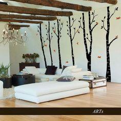 (3807n) #Nálepka na stenu - Stromoradie s vtáčikmi   #ARTSABLONY.SK  #trees