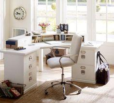 Bedford 5  Drawer Corner Desk, Antique White