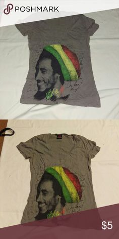 Grey Bob Marley rasta vneck zion EUC. Worn a few times. Bought from hot topic a while ago. One love and Bob Marley portrait design. No flaws just a little wrinkly in photo. Zion Rootswear Tops Tees - Short Sleeve