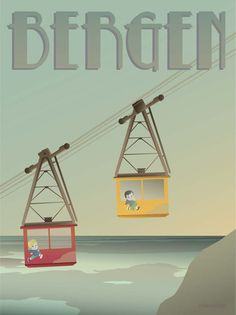 Bergen cable cars poster by ViSSEVASSE. We enjoy getting up in the Ulriksbanen cable cars high above the city and mountains of Bergen. Køb plakaten her! Bergen, Car Posters, Poster On, Poster Prints, Eco Friendly Paper, Europe, Travel And Tourism, Vintage Travel Posters, Illustrations Posters