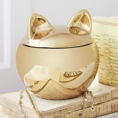 The Emily   Meritt Gold Cat Canister