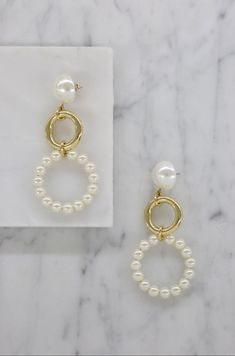 c466818fd Circular Pearl Drop Hoops in Gold