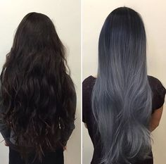 How to Get Dark Grey Hair Color 336010 21 Stunning Grey Hair Color Ideas and Styles Gray Hair Silver In Dark Silver Hair, Dark Grey Hair Color, Silver Ombre Hair, Ombre Hair Color, Blue Hair, Gray Hair, Blue Grey, Lilac Hair, Bluish Gray