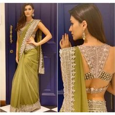 kriti sanon pista green thread and sequence work saree with designer blouse Indian Blouse Designs, Blouse Back Neck Designs, Latest Saree Blouse Designs, Designs Kurta, Sari Blouse, Saree Dress, Designer Kurtis, Designer Sarees Online, Sari Design