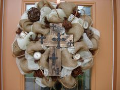 Natural Burlap and Deco Mesh Cross Wreath by DecoDzigns on Etsy Burlap Cross Wreath, Burlap Ribbon, Deco Mesh Crafts, Wreath Crafts, Wreath Ideas, Diy Craft Projects, Diy Crafts, Craft Ideas, Cross Door Hangers