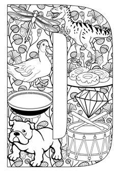 Coloring Pages Letter D. 30 Coloring Pages Letter D. Zentangle Alphabet Coloring Page Letter D to Color for Coloring Letters, Alphabet Coloring Pages, Free Printable Coloring Pages, Coloring Book Pages, Coloring Sheets, Free Printables, Kids Activity Center, Letter Activities, Printable Letters