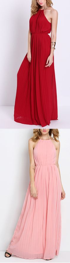 Wine Red Evening Sleeveless Halterneck Pleated Infinity Maxi Dress.Top dress at romwe.com. Find more similar items at romwe.com!
