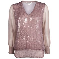 MARC JACOBS SEQUINED SWEATER ($1,285) ❤ liked on Polyvore featuring tops, sweaters, marc jacobs, women, sheer sleeve top, long brown sweater, marc jacobs sweater, long tops and v-neck tops