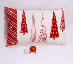 Red and White Christmas Pillow - Another Collection of 17 Christmas Pillow Designs