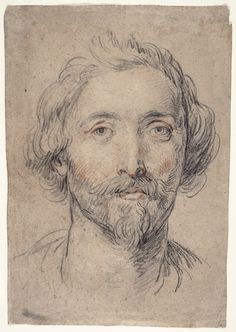 Head of a Man [Nicholas Lanier?] Guido Reni (Italy, Calvenzano, 1575-1642) Italy, circa 1625-1630 Drawings Red and black chalk on gray paper Sheet: 16 1/2 x 11 1/2 in. (41.91 x 29.21 cm)