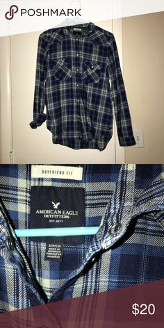 American Eagle Boyfriend Fit Plaid Flannel Shirt ! Loose and comfy fitting plaid shirt! ❤️ Boyfriend relaxed Fit ❤️ Great Condition American Eagle Outfitters Tops Button Down Shirts