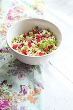 Vegan Foxtail Millet Salad with Pomegranate, Mung Bean Sprouts & Almonds